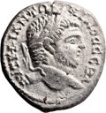 Ancients:Judaea, Ancients: Caesarea Maritima, Samaria. Caracalla (198 - 217 AD). AR billon tetradrachm (27.5mm, 12.37 gm, 12h). ...