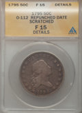 Early Half Dollars, 1795/1795 50C 2 Leaves -- Scratched -- ANACS. Fine 15 Details.O-112, R.4....