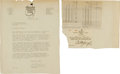 Golf Collectibles:Autographs, 1933 Bobby Jones Signed Letter Offering Membership to Newly-FoundedAugusta National Golf Club....