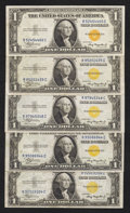 Small Size:World War II Emergency Notes, Fr. 2306 $1 1935A North Africa Silver Certificates. Five Examples. Very Fine or Better.. ... (Total: 5 notes)