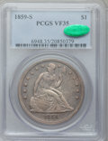 Seated Dollars, 1859-S $1 VF35 PCGS. CAC....