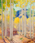 American:Western, ORIN SHELDON PARSONS (American, 1866-1943). Aspens. Oil oncanvas. 30 x 25 inches (76.2 x 63.5 cm). Signed lower left: ...