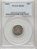 Bust Dimes: , 1833 10C MS63 PCGS. PCGS Population (30/60). NGC Census: (34/82).Mintage: 485,000. Numismedia Wsl. Price for problem free ...
