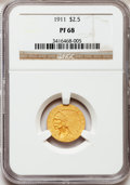 Proof Indian Quarter Eagles: , 1911 $2 1/2 PR68 NGC. NGC Census: (12/0). PCGS Population (1/0).Mintage: 191. Numismedia Wsl. Price for problem free NGC/P...