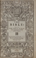 Books:Religion & Theology, [King James]. The Bible: That is, the Holy Scriptures contained in the Old and New Testament. London: Robert Barker,...