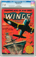 Golden Age (1938-1955):War, Wings Comics #31 (Fiction House, 1943) CGC FN/VF 7.0 Off-whitepages....