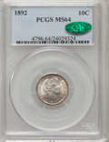 Barber Dimes: , 1892 10C MS64 PCGS. CAC. PCGS Population (301/187). NGC Census: (329/216). Mintage: 12,121,245. Numismedia Wsl. Price for p...