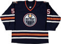 Hockey Collectibles:Uniforms, 2001-02 Tom Poti Game Worn Edmonton Oilers Jersey. ...