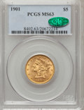 Liberty Half Eagles: , 1901 $5 MS63 PCGS. CAC. PCGS Population (643/381). NGC Census:(844/649). Mintage: 615,900. Numismedia Wsl. Price for probl...