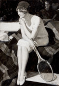 Mainstream Illustration, MCCLELLAND BARCLAY (American, 1891-1943). The Tennis Player.Oil on canvas. 32 x 22 in.. Signed lower right. From th...