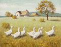 Paintings, ARTHUR SARON SARNOFF (American, 1912-2000). Gaggle of Geese (pair). Oil on canvas. 22 x 28 in. . Both signed lower left...
