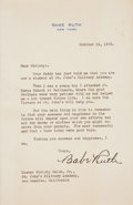 Autographs:Letters, 1935 Babe Ruth Signed Letter Discussing His St. Mary's School Days,PSA/DNA Gem Mint 10....