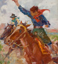 Mainstream Illustration, AMERICAN ARTIST (20th Century). Cowboys on the Plains. Oilon board. 10.25 x 9.25 in.. Not signed. From the Estate o...