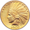 Indian Eagles, 1907 $10 Wire Rim MS64 PCGS. Judd-1901, R.3....
