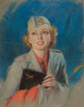 Pin-up and Glamour Art, BRADSHAW CRANDELL (American, 1896-1966). Armed ForcesBeauty. Pastel on board. 28 x 22 in.. Signed lower right.From...
