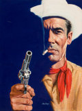 """Pulp, Pulp-like, Digests, and Paperback Art, VERNE TOSSEY (American, 1920-2002). """"Texan's Don't Scare"""", GrassGreed, Ace Double paperback cover, 1959. Oil on board. ..."""