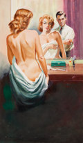 Pulp, Pulp-like, Digests, and Paperback Art, HARRY BARTON (American, b. 1896). Nude in the Mirror (A Ghost,Passion, & Suspense), paperback cover, 1959. Gouache and...