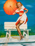 """Pin-up and Glamour Art, AMERICAN ARTIST (20th Century). After Gil Elvgren's, """"I've BeenSpotted"""". Oil on board. 20 x 15 in.. Not signed. ..."""