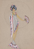 Pin-up and Glamour Art, LESTER DESIGN COMPANY (American, 19th Century). Costume designfor Chez Paree Chicago nightclub, circa 1920s-30s. Mixed ...