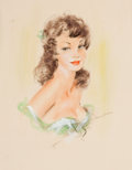Pin-up and Glamour Art, FRENCH ARTIST (20th Century). Brunette Beauty, circa 1940s.Watercolor and charcoal on board. 12.25 x 9.5 in.. Signed in...