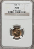 Roosevelt Dimes: , 1964 10C MS65 NGC. NGC Census: (108/801). PCGS Population(200/587). Mintage: 929,299,968. Numismedia Wsl. Price forproble...