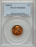 Lincoln Cents: , 1969-S 1C MS66 Red PCGS. PCGS Population (155/8). NGC Census:(96/5). Mintage: 547,309,632. Numismedia Wsl. Price for probl...