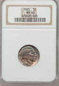 Buffalo Nickels: , 1925 5C MS63 NGC. NGC Census: (111/666). PCGS Population(152/1256). Mintage: 35,565,100. Numismedia Wsl. Price forproblem...