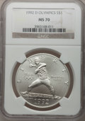 Modern Issues: , 1992-D $1 Olympic Silver Dollar MS70 NGC. NGC Census: (0). PCGSPopulation (83). Mintage: 187,552. Numismedia Wsl. Price fo...
