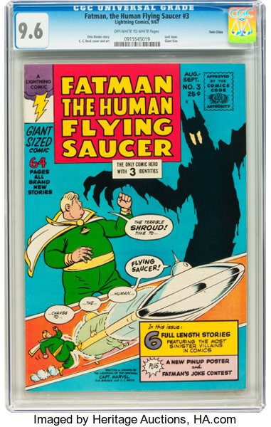 Silver Age (1956-1969):Humor, Fatman, the Human Flying Saucer #3 Twin Cities pedigree (Lightning Comics, 1967) CGC NM+ 9.6 Off-white to white pages....