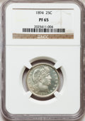 Proof Barber Quarters: , 1894 25C PR65 NGC. NGC Census: (65/69). PCGS Population (45/29). Mintage: 972. Numismedia Wsl. Price for problem free NGC/P...