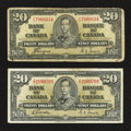 Canadian Currency: , BC-25b $20 1937. BC-25c $20 1937. ... (Total: 2 notes)