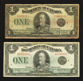 Canadian Currency: , DC-25o $1 1923 Two Examples. ... (Total: 2 notes)
