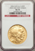 Modern Bullion Coins, 2006 $50 Buffalo One-Ounce Gold First Strike MS70 NGC. Ex: .9999Fine Gold. NGC Census: (43419). PCGS Population (3338). ...