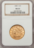 Liberty Eagles: , 1882 $10 MS63 NGC. NGC Census: (725/65). PCGS Population (328/35).Mintage: 2,324,480. Numismedia Wsl. Price for problem fr...