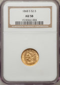 Liberty Quarter Eagles: , 1868-S $2 1/2 AU58 NGC. NGC Census: (95/19). PCGS Population(11/15). Mintage: 34,000. Numismedia Wsl. Price for problem fr...