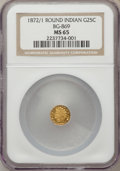 California Fractional Gold: , 1872/1 25C Indian Round 25 Cents, BG-869, Low R.4, MS65 NGC. NGCCensus: (4/0). PCGS Population (11/1). (#10730)...