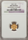 Gold Dollars, 1852 G$1 --Improperly Cleaned--NGC Details. UNC. NGC Census:(81/2810). PCGS Population (53/1302). Mintage: 2,045,351. Numis...