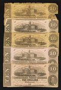 Confederate Notes:1862 Issues, T52 $10 1862 Five Examples.. ... (Total: 5 notes)