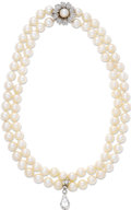 Estate Jewelry:Pearls, Cultured Pearl, Diamond, Platinum, White Gold Necklace. Thenecklace is composed of cultured pearls measuring 8.50 - 9.00 ...