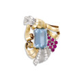 Estate Jewelry:Brooches - Pins, Retro Aquamarine, Ruby, Diamond, Platinum, Gold Clip-Brooch, Yard. The brooch is highlighted by an emerald-cut aquamarine ...