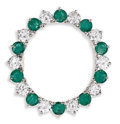 Estate Jewelry:Brooches - Pins, Diamond, Emerald, Platinum Brooch. The circle brooch featuresfull-cut diamonds weighing a total of approximately 1.50 car...