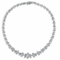 Diamond, Platinum Necklace, Kwiat  The graduated necklace features marquise and round brilliant-cut diamonds weighing a...
