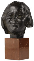 Bronze:European, A Belgian Bronze Bust: Face of a Child. . Rik Wouters (Brussels, Belgium, 1882 - 1916) . Early 20th century. Br...