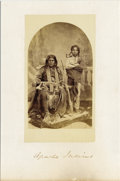 Photography:Studio Portraits, EXCEPTIONAL STUDIO IMAGE OF MESCALERO APACHE. Identified as Carlos in a Wittick & Russell copy of this photograph, the image... (Total: 1 Item)