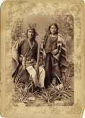 Photography:Cabinet Photos, IMPRESSIVE WITTICK IMPERIAL CABINET OF NAVAJO COUPLE. One ofWittick's more impressive images, this large cabinet photograph...(Total: 1 Item)