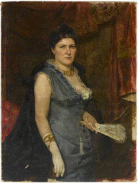 ERULO EROLI (Italian, 1854-1916) Portrait of a Lady, 1878 Oil on canvas 44in. x 32-3/4in. Signed at lower right Er