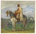 Fine Art - Painting, American:Other , CONTINENTAL SCHOOL. Man on Horseback. Oil on canvas. 20in. x21-1/4in.. Stamped at lower right T. Robinson Sale. ...(Total: 1 Item)