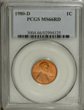 Lincoln Cents: , 1980-D 1C MS66 Red PCGS. PCGS Population (200/25). (#3004)...
