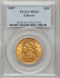 Liberty Eagles: , 1907 $10 MS63 PCGS. PCGS Population (3363/622). NGC Census:(5623/1096). Mintage: 1,203,973. Numismedia Wsl. Price for prob...
