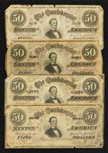 Confederate Notes:1864 Issues, T66 $50 1864 Four Examples.. ... (Total: 4 notes)